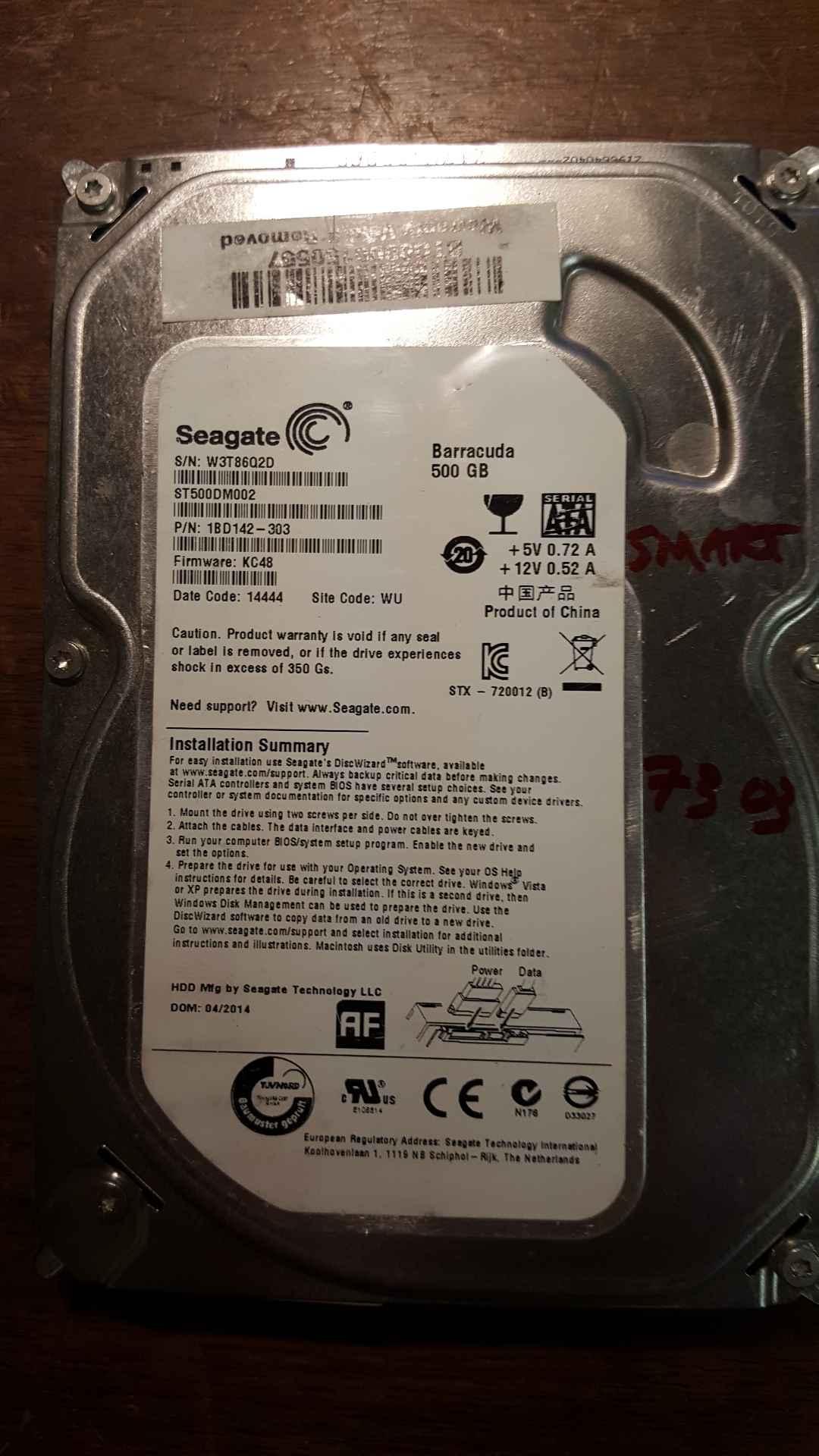 1BD142-023 F//W Seagate ST500DM002 P//N HP74 500GB WU
