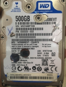 WD500BEVT-22A0RT0
